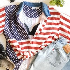 American Flag vintage button up shirt